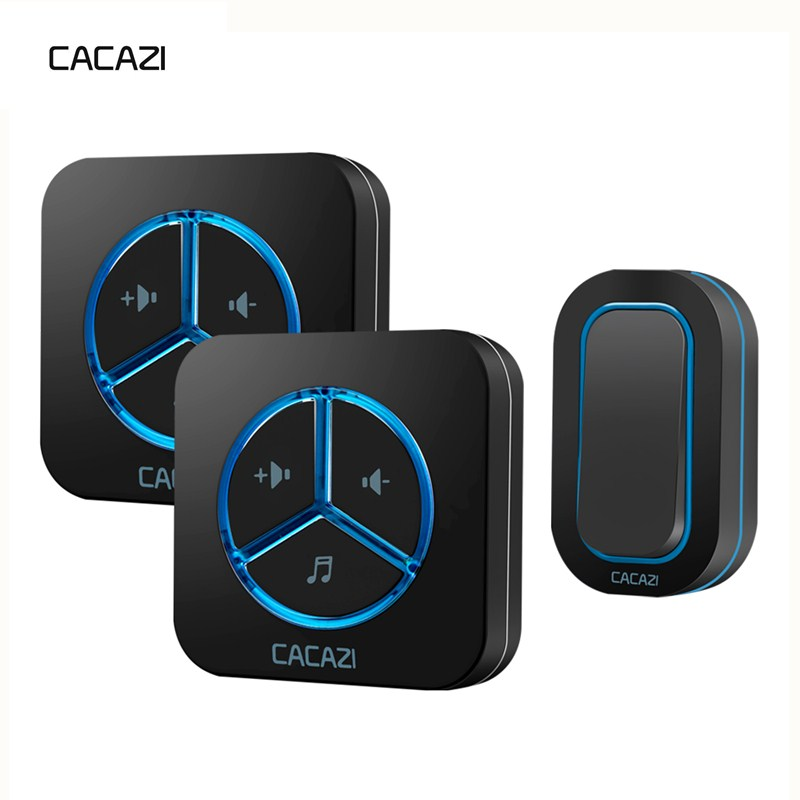 CACAZI Wireless Doorbell Waterproof Battery Button 280M remote LED Light EU Plug Home Cordless Call Bell 48 Chime 6 Volume cacazi wireless doorbell waterproof 350m remote 3 battery button 3 receivers 48 chime 6 volume eu plug home cordless bell