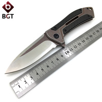 WTT 0801 Folding Pocket Knife D2 Blade Steel Carbon Fiber Handle Tactical Combat Survival Knives Utility