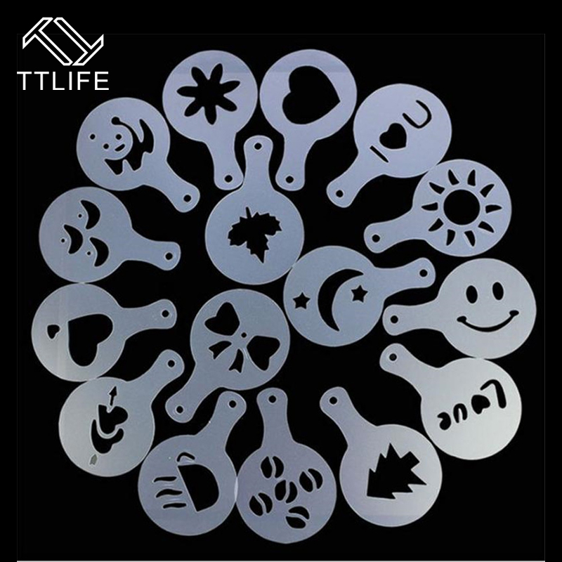 TTLIFE 16pc Cake Duster Templates Coffee Stencils Latte Cappuccino Barista Pull Flower Art Stencils Drawing Molds Printing Model