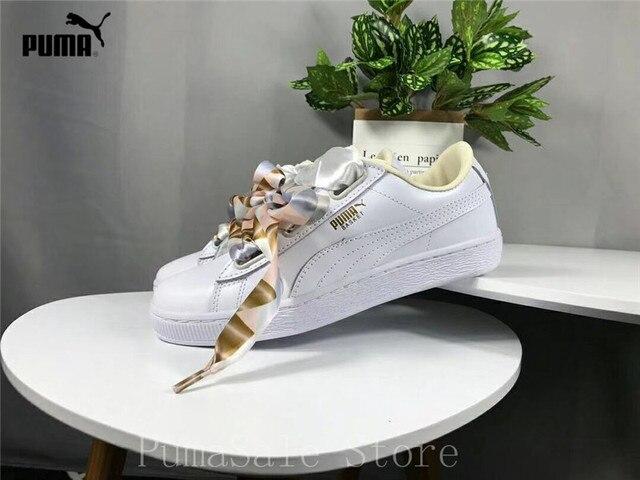 competitive price 66f65 d6862 3287.99 руб. 17% СКИДКА|Оригинальная Puma Basket Heart мимикой туфли  Rihanna с шелковым бантом, ...