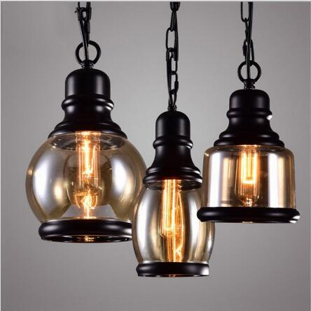Glass Simple Iron Pendant Light personality modern Nordic creative antique single head glass bowling Cafe Restaurant lamp modern restaurant single head bar counter creative personality nordic retro glass lamp act the role ofing goldfish bowl