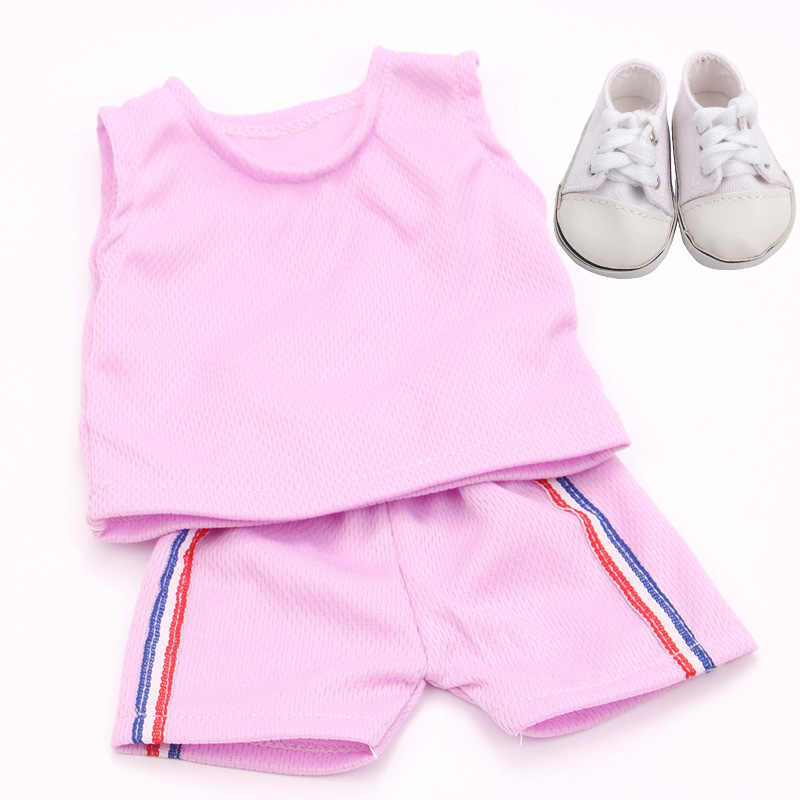 18 Inch Gadis Boneka Pakaian Olahraga Tuxedo Suit dengan Sepatu Amerika Lahir Baju Renang Bayi Mainan Fit 43 Cm Bayi boneka C35