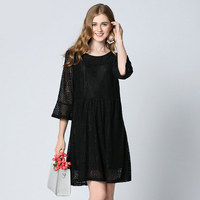 2017 Summer New Style Europe And America Plus Size Women S Clothing Butterfly Sleeve Lace Dress