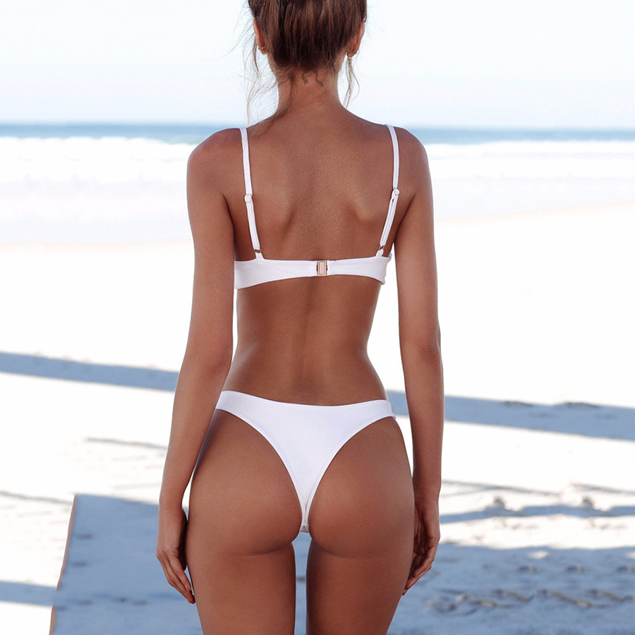 2018 Sexy Micro Bikini Plus Size Swimwear Women Swimsuit Female Beach Wear Push up Thong Brazilian Bikini Set White Bathing Suit 1