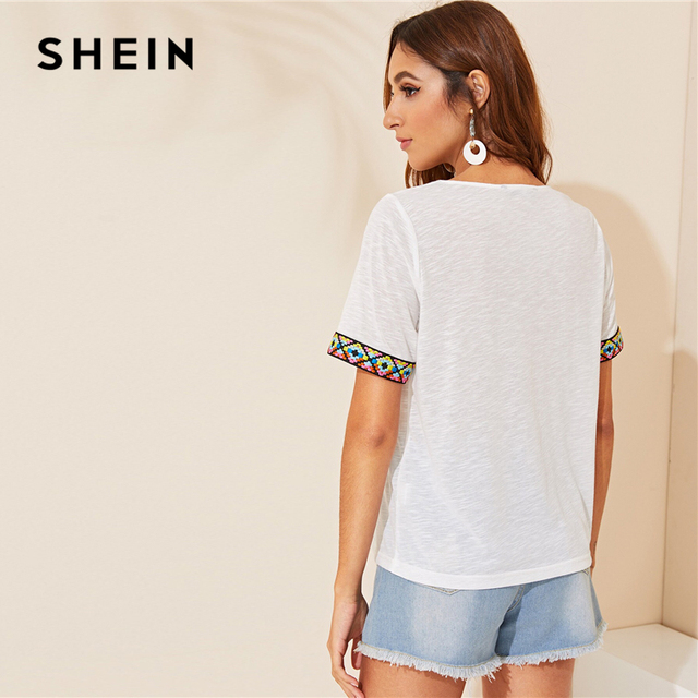 SHEIN Black or White V Neck Aztec Embroidered Tape Trim Tee Short Sleeve T Shirt Women 2019 Summer Soft Boho Casual Tops 1