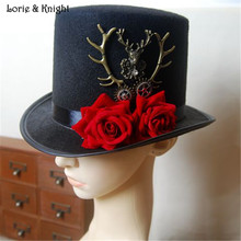 DIY Vintage Gothic Steampunk Victorian Top Hat with Deer Antler and Flower Decorstion for Ladies