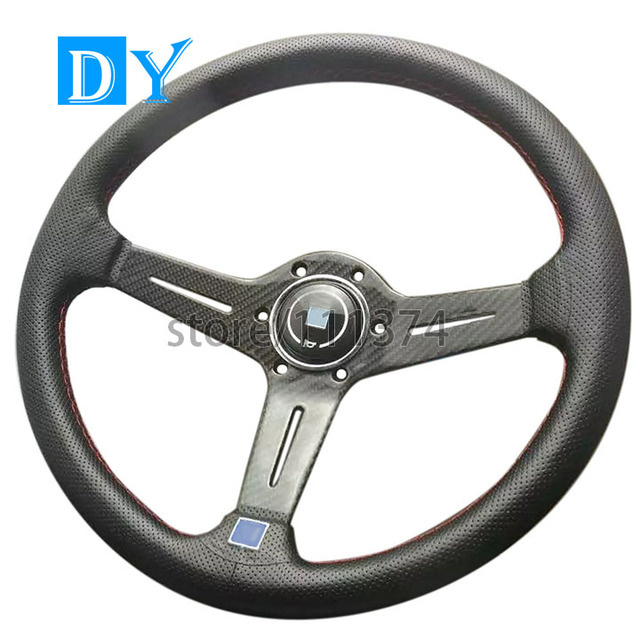 New 14inch 350mm Deep Dish Carbon Fiber Steering Wheel Universal Racing Car Leather  Steering Wheel