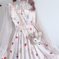 Женское платье на бретелях, милое винтажное платье в стиле Харадзюку С клубничным Кроликом, повседневное