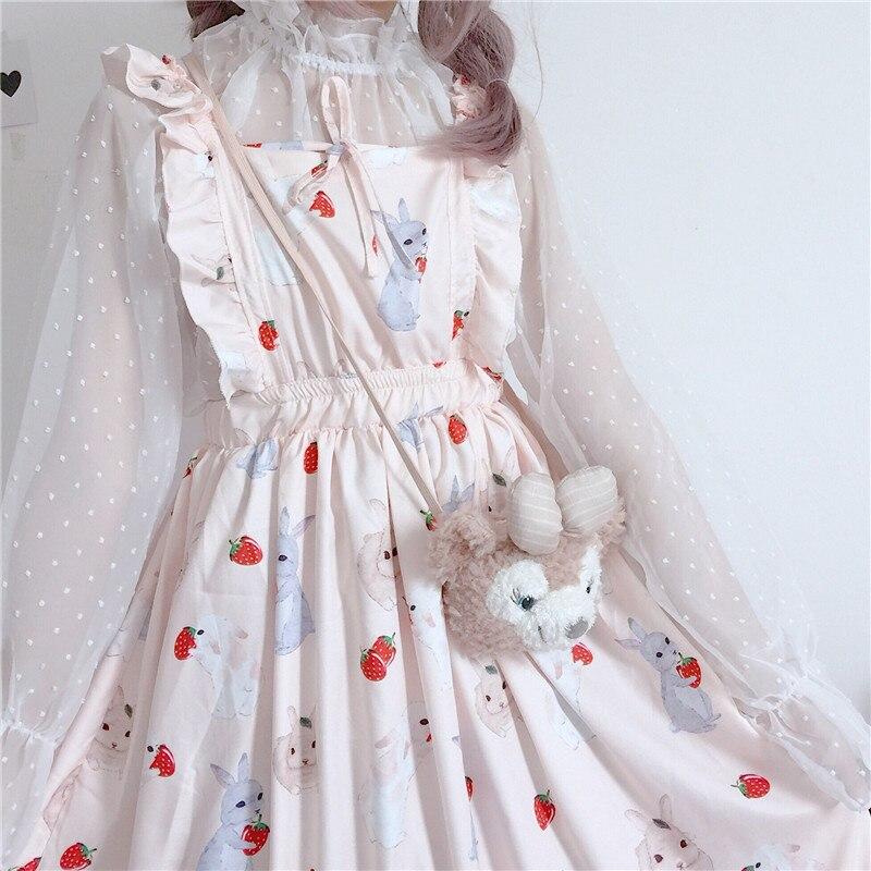 ชุดสตรี CHIC LADY Kawaii Ulzzang กระต่ายสตรอเบอร์รี่น่ารักสายชุดหญิง INS VINTAGE Harajuku ชุดสำหรับสุภาพสตรี
