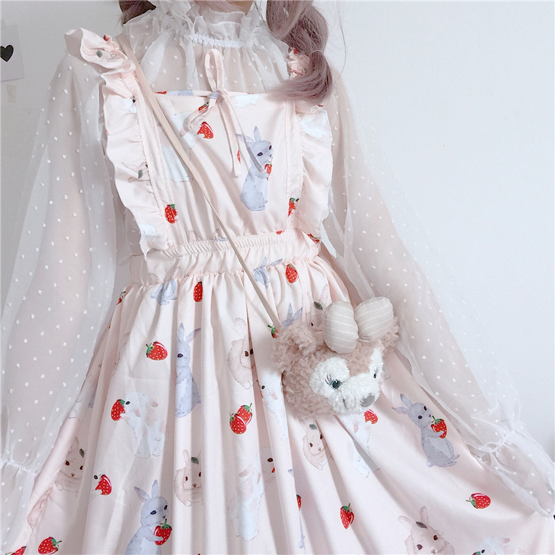 Vestidos femininos chiques lady kawaii ulzzang morango coelho bonito cinta vestido feminino ins vintage harajuku vestido para mulher casual