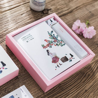 Girl With Cat Gift Set Notebook Ruler Tapes 6color Pen Kawaii Shool Office Supplies Creative Stationary