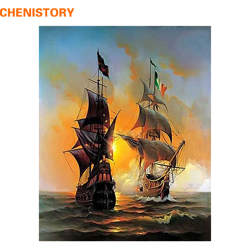 CHENISTORY Sailboat Sailing Boat Europe Art Canvas Painting DIY Painting By Numbers Oil Painting On Canvas Home Decor 40 * 50cm