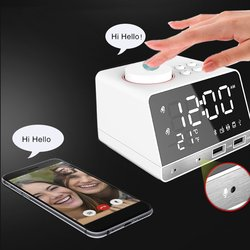 Multifunction Bluetooth Alarm Clock Speaker with Dual USB Interface Charging Audio LED Mirror Clock Music Display Desktop Clock