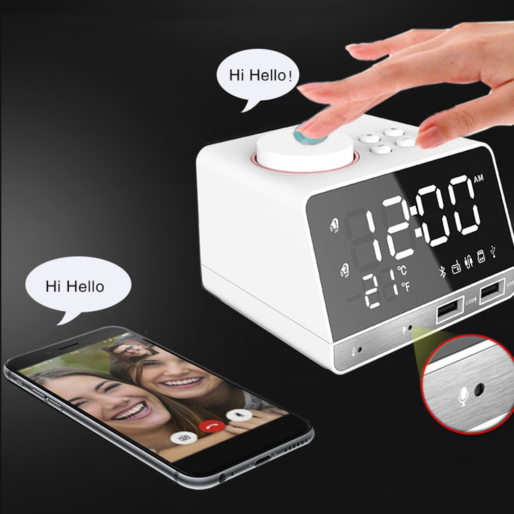Multifunction Bluetooth Alarm Clock Speaker with Dual USB Interface Charging Audio LED Mirror Clock Music Display Desktop Clock
