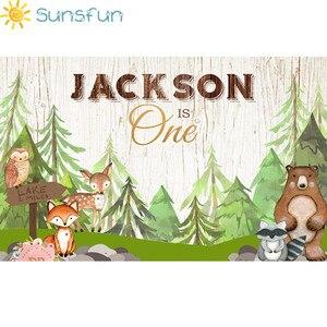 Image 2 - Sunsfun الحيوانات الوليد استحمام الطفل صورة خلفية الغابات ديكور الحفلات راية الثعلب الدب خلفية للتصوير استوديو