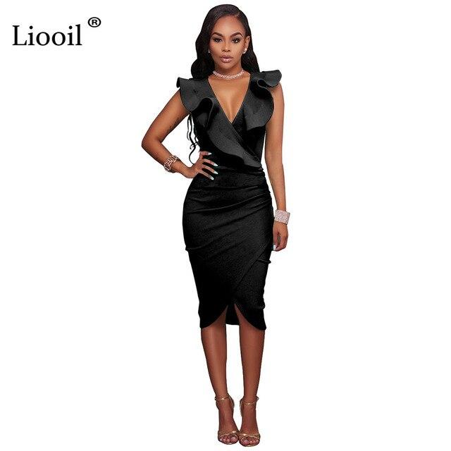 3608ece0d111 Liooil Ruffles Women Midi Dress Sleeveless Deep V Neck Bodycon Black White  Wine Red Elegant Celebrity Sexy Dresses 2019 Club