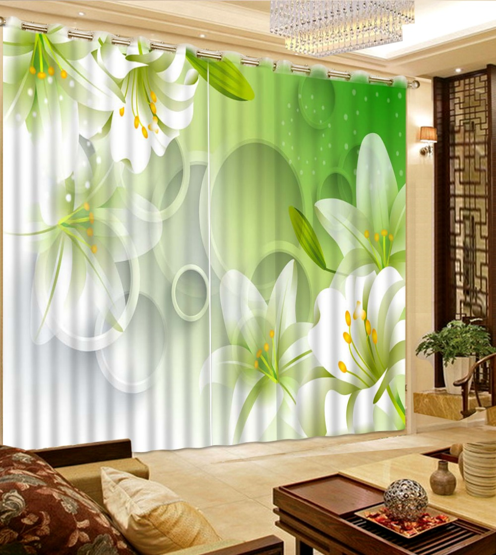 Green bedroom curtains - Bedroom Curtain Patterns Circle Lily Flowers Curtain Flower Home Bedroom Decoration 3d Curtains China