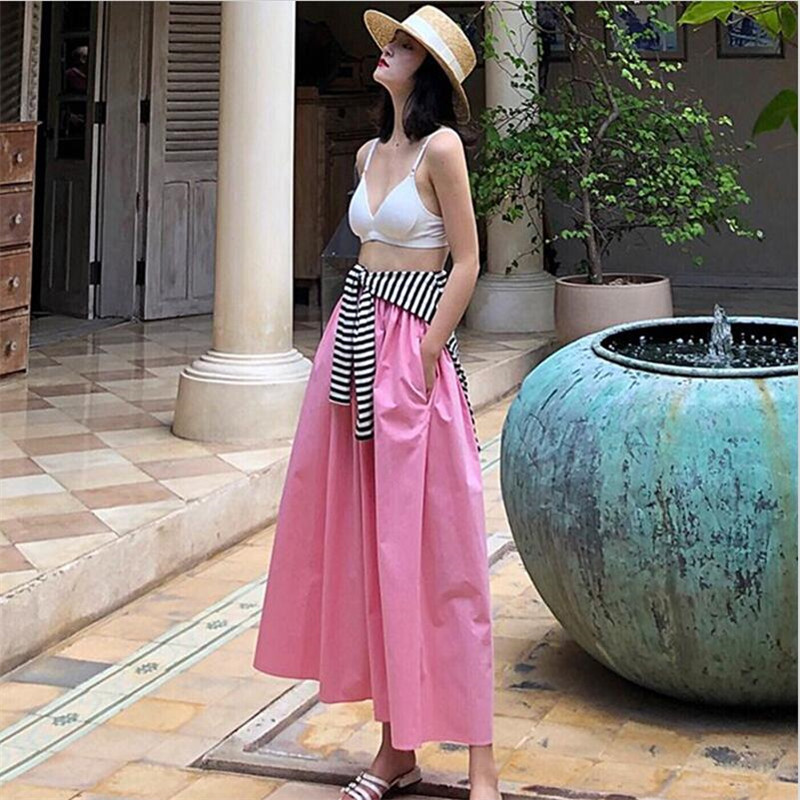 2019 Women Summer Cotton Long Skirts Spring Autumn Elastic Waist Beach Holiday Maxi Skirts With Pocket Plus Size M-7XL