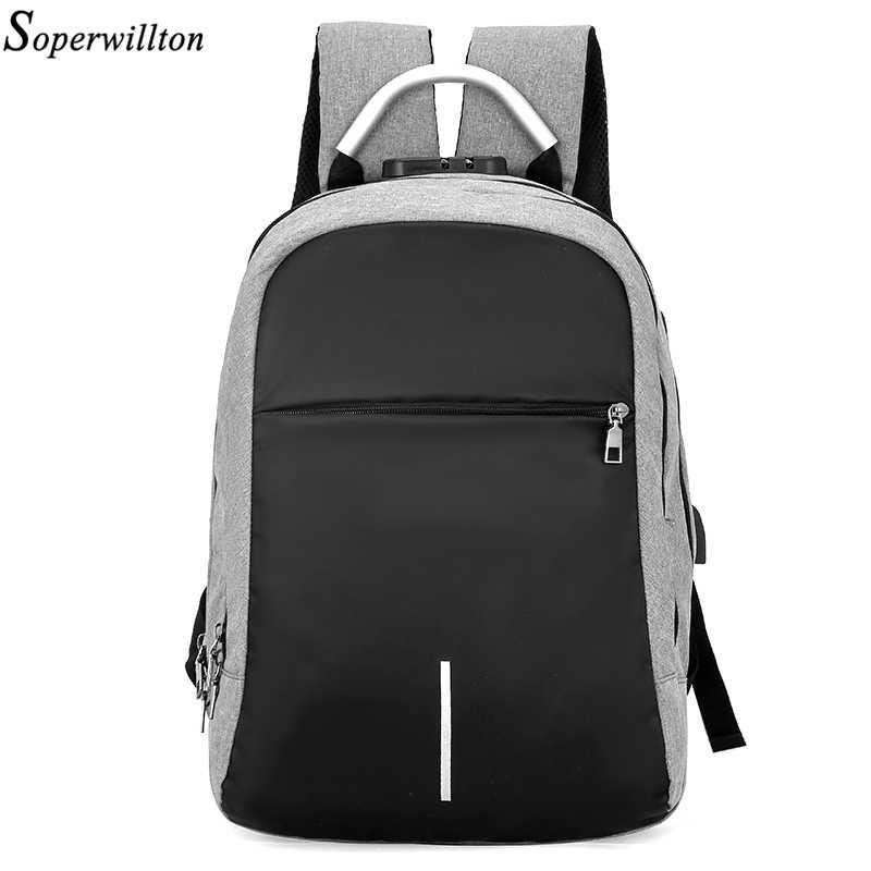 Soperwillton 新しい男性のバックパック usb 充電 15.6 インチノートパソコンのバックパックティーンエイジャー男性 mochila レジャー旅行のバックパック #1206