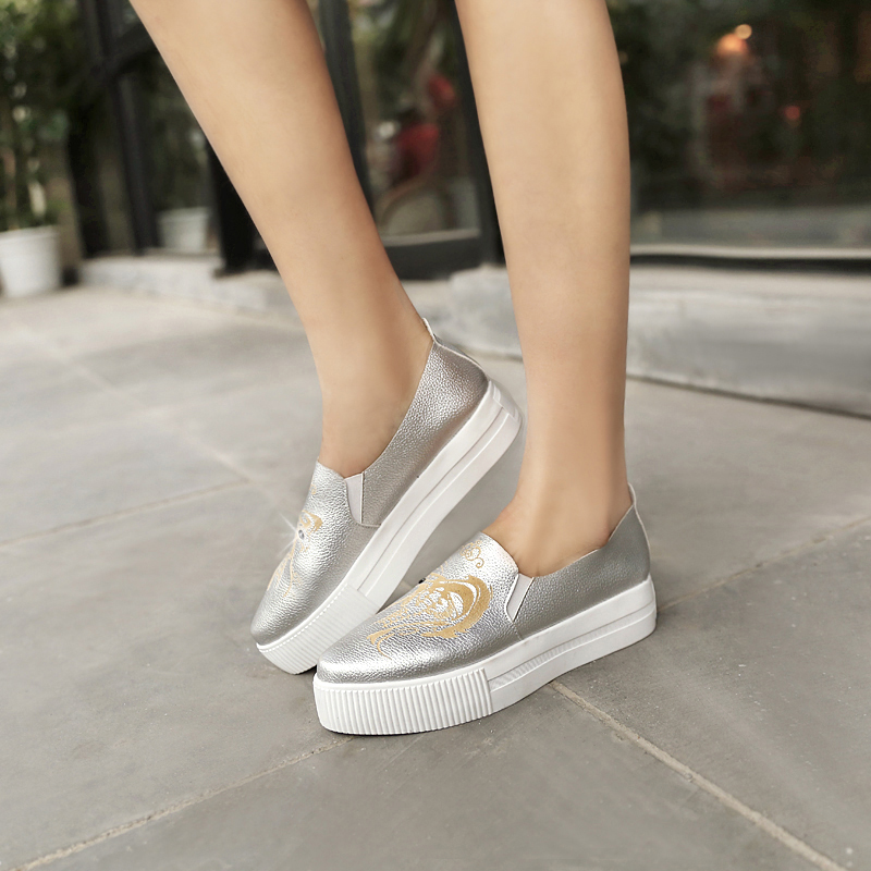 spring and autumn woman shoes Thick crust with Pointed Toe slip-on solid shoes