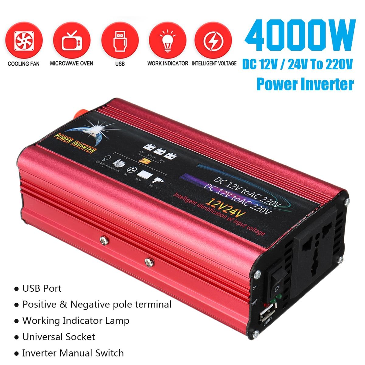Синусоида Мощность инвертор Напряжение трансформатор P ЕАК 4000 Вт DC12/24 В до 220 В модифицированный автомобиль Зарядное устройство преобразова...