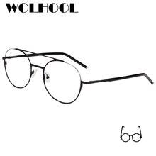 61ea98241f Vintage Fancy Stainless Steel Metal Double Bridge Thin Frame Men Retro  Round Fake Glasses Korean Women