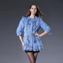 Autumn winter new 2016 slim long women's genuine rabbit fur coat outerwear women jacket plus size S-3XL w018