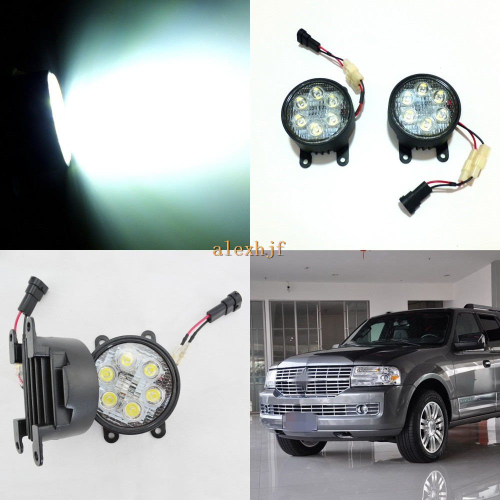July King 18W 6LEDs H11 LED Fog Lamp Assembly Case for Lincoln Navigator 2007~2014, 6500K 1260LM LED Daytime Running Lights