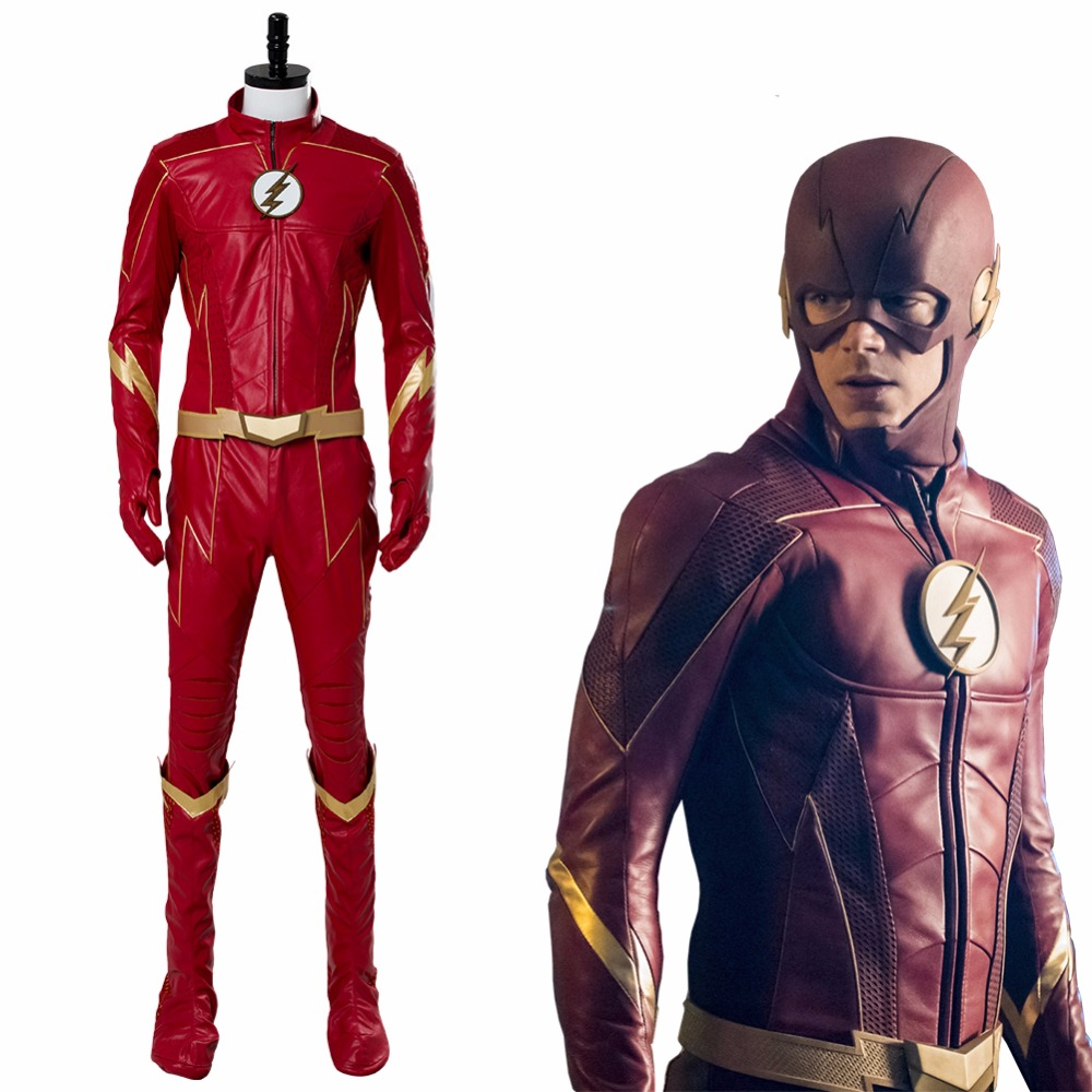TV The <font><b>Flash</b></font> Season 4 Costume <font><b>Barry</b></font> <font><b>Allen</b></font> <font><b>Flash</b></font> Cosplay Costume Shoes New Halloween Superheo Costume Red Custom Made Men Women image