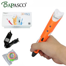 Original BAPASCO First Generation 3D Pen EU Plug Best Children 3D magic Pen 3D model Add Free 3 Color ABS Filaments FCC CE ROHS