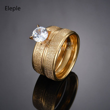 Eleple Simple Large Zircon Stainless Steel Rings for Couple Luxury Fashion Wedding Anniversary Valentine Ring Gifts SL1223TP