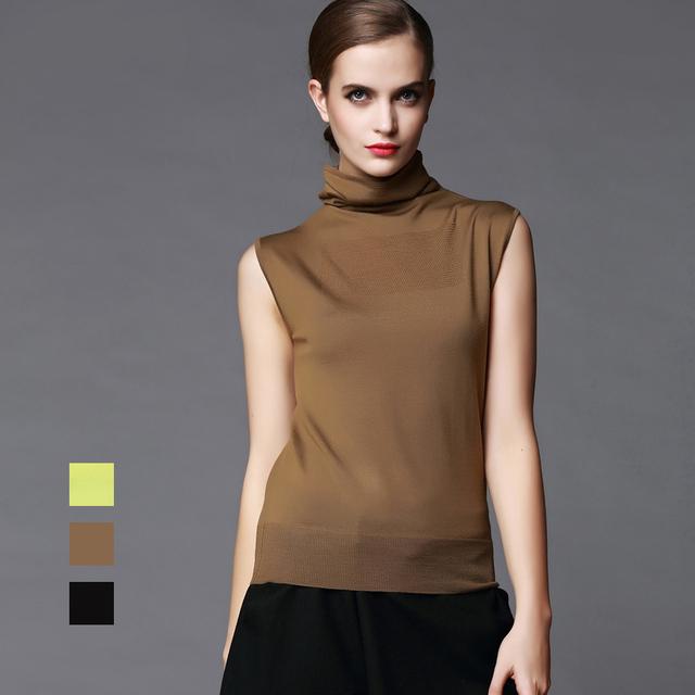 100% lana MERINO mujeres sin mangas sólidos costillas de punto de cuello alto montones collar jerseys suéter chaleco otoño invierno Basics nueva 002