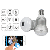 Small Wifi Camera for iPhone IOS Android Light Bulb Fisheye Panoramic HD 960P Cam Security System Surveillance Dome Lamp Camera