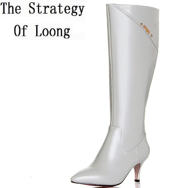 Kobiet metalu dekoracji szpiczasty Toe cienkie obcasy pluszowe buty do kolan New Arrival zamek prawdziwej skóry podstawowe buty ZY170904 w Kozaki do kolan od Buty na  Grupa 1