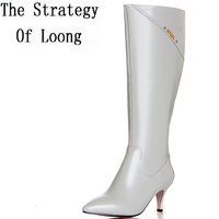 Women Metal Decoration Pointed Toe Thin Heel Plush Knee High Boots New Arrival Zipper Genuine Leather