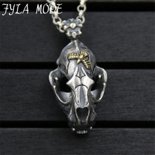 JINSE Hip-Hop Dinosaur Fossils Pendant S925 Sterling Silver Punk Skull Men's Pendant Necklace Jewelry Accessory 19*31MM  21.70G huge heavy 925 sterling silver movable limbs skull robot punk pendant 9l019 necklace 24inch