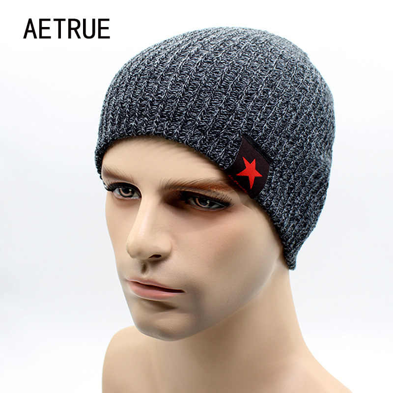 3e51498667a 2018 Warm Winter Beanies For Men Knit Hat Men s Winter Hats For Men Brand  Bonnet Beanie