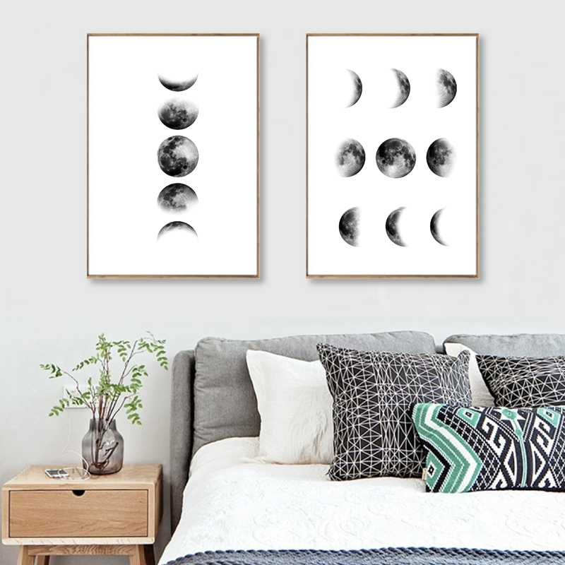 Moon Phases Art Poster Canvas Painting Wall Pictures For Living Room Nordic Decoration La Lune Print Luna Wall Decor