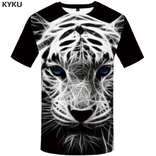 KYKU Brand Tiger T shirt Black shirts White Tshirt Animal T-shirt Clothes Plus Size Men Mens Casual Punk XS-8XL