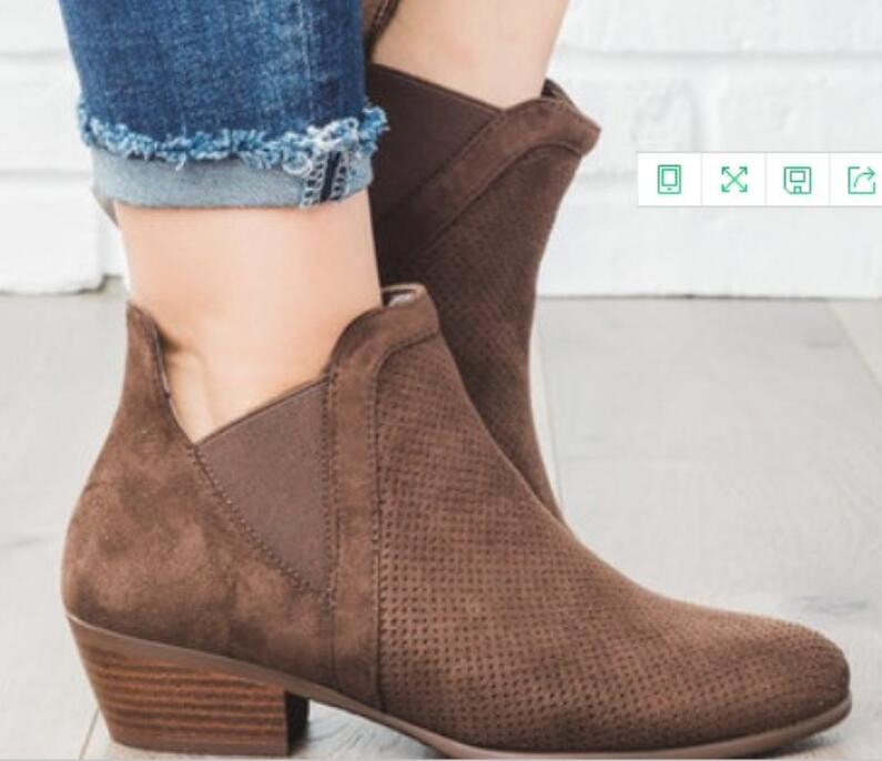 Feminino Slip Ta0242 red Black Bajo Zapatos tan Señoras brown De Mujer Sapato Tacón Mujeres Gladiador On Chussure Otoño Vintage Botines Gruesos qPaACd