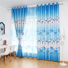 hot deal buy modern cute dolphin printing curtains for living room bedroom kitchen curtains for window blackout curtains drapes blinds panel