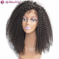 AliBlissWig perruque Lace frontal wig sans colle, cheveux 100% naturels, crépus bouclés, Remy brésilien, couleur # 1B, 16 pouces, en Stock, expédition rapide