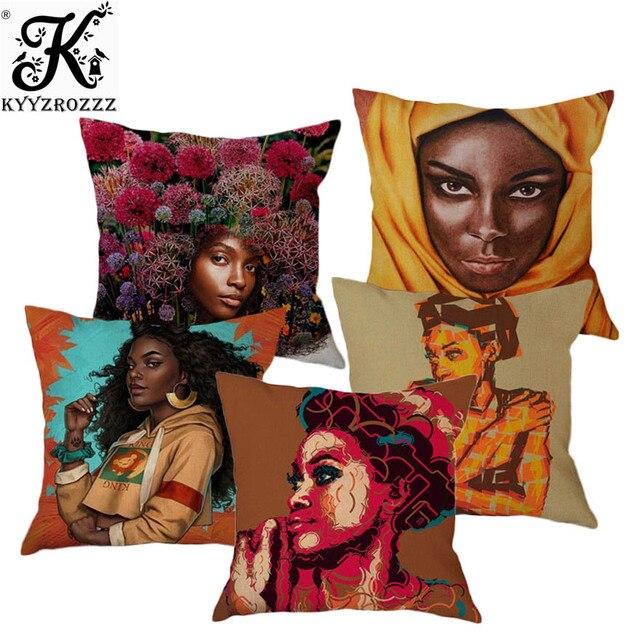 새로운 아프리카 예술 흑인 소녀 아프리카 여성 유화 귀여운 베개 커버 소파 장식 귀여운 만화 소녀 리넨 쿠션 커버