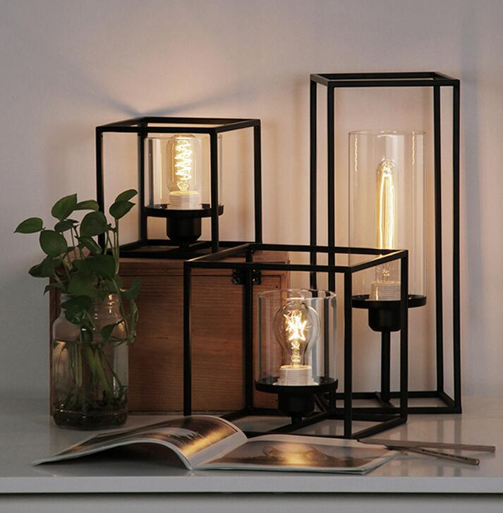 The design of the light table lamp simple bedroom bedside retro industrial wind iron office study iron cubic meter ZH simple fashion table desktop is mdf fine processing the leg of the table is made of solid beech black and white can be chosen