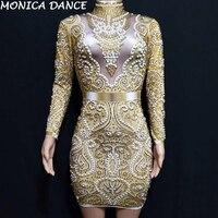 Women Sparkly Gold Rhinestones Pearls Long Sleeves Dress Bar Party Dance Dress Women Singer Costume Birthday Celebrate Dress