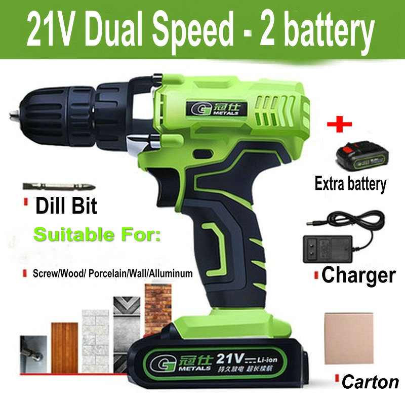 Waterproof 21V Dual Speed Mini Cordless Electric Screwdriver Rechargeable Lithium-ion Battery Electric Drill Power Tools lanneret 18v lithium ion battery 2 speed cordless drill electric screwdriver household rechargeable drill tools