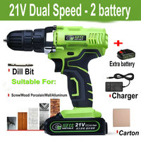 Waterproof 21V Dual Speed Mini Cordless Electric Screwdriver Rechargeable Lithium ion Battery Electric Drill Power Tools
