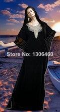 Schwarz Kaftan Dubai 2016 Musilim Design Gold Perlen Abendkleider Möchtest Farasha Abaya jalabiya Islamischen Lange Arabischen Abendkleid