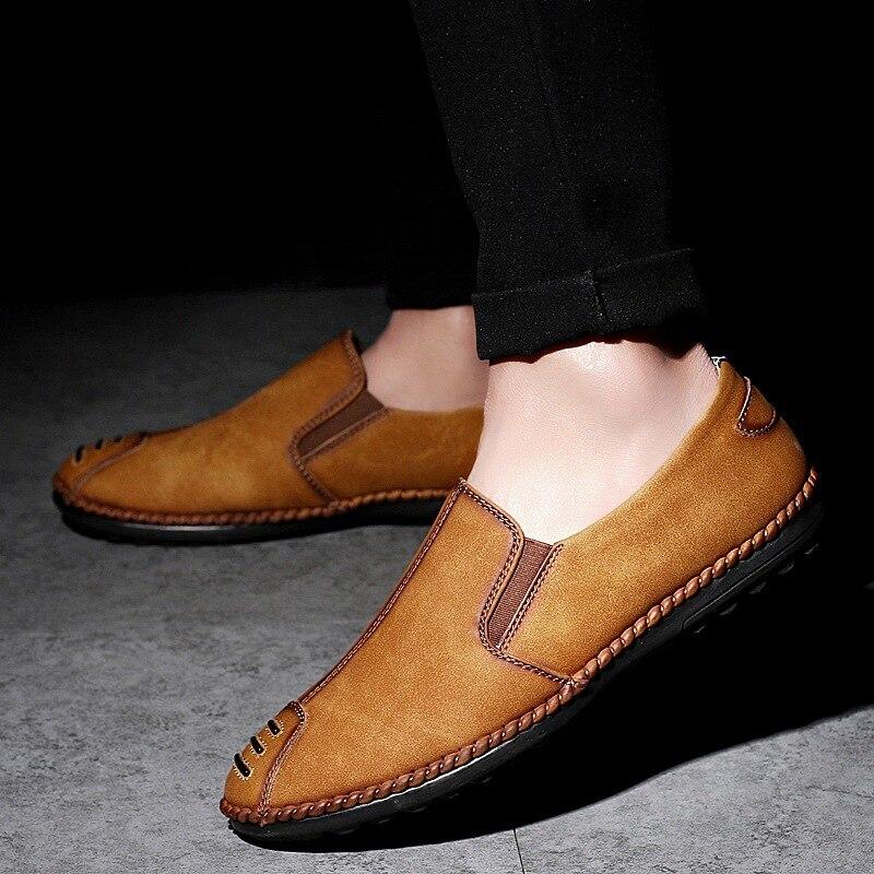 Alta brown Genuíno Na Respirável Black Masculinos De Mocassins Homens khaki Casuais Sapatos Deslizamento Condução Couro Marca Qualidade Luxo Artesanal TwSHqxBTr