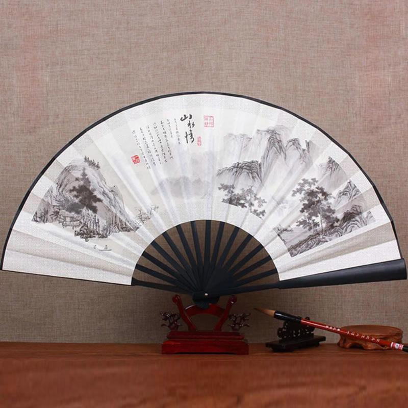 10 Inch Silk Cloth Blank Chinese Folding Fan Wooden Bamboo Retro Folding Fan For Calligraphy Painting